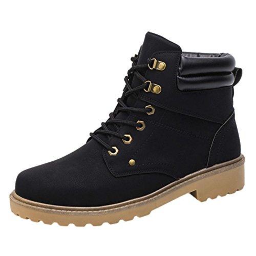 FEITONG Herren Schuhe Sneakers, High-Top Martin Schuhe Warme Stiefel Turnschuhe, Größe 38~45, Schwarz Grau Gelb (EU 42, Schwarz) (Toe-high-top-schuh)