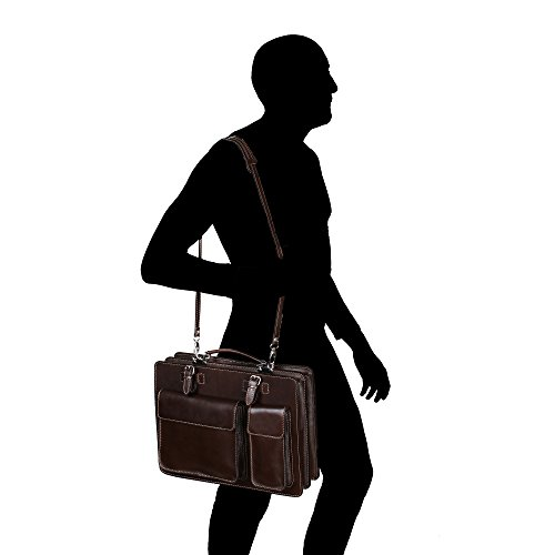 Unisex Aktentasche, Business Handtasche mit Schulterriemen aus echtem Leder Made in Italy Chicca Borse 38x29x11 Cm Dunkelbraun