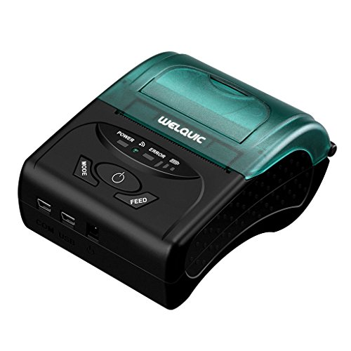 WELQUIC Thermodrucker Drucker ESC/POS Printer Bondrucker Bluetooth 2.0&4.0 + USB + Standard RS232 mit Lithium Batterie für 58 x 50mm und iOS Android Windows, 90mm/s