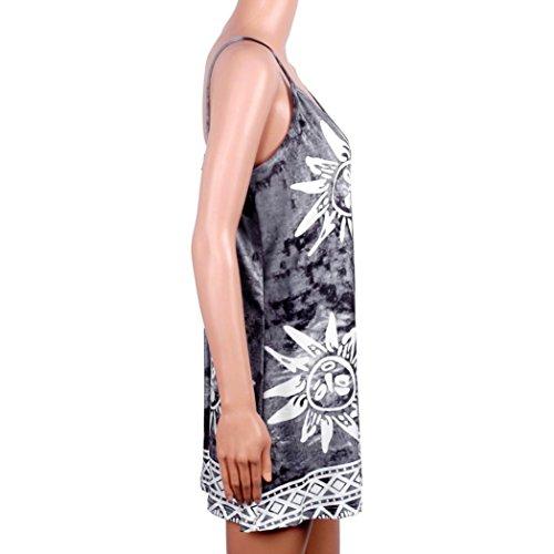 Bekleidung Longra Damen Riemen Ärmellos V-Ansatz Cocktailparty Kurzschluss Strand Minikleid Gray