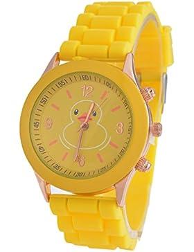 Souarts Junge Gelb Ente Silikonband Armbanduhr Quartz Analog Sportuhr mit Batterie