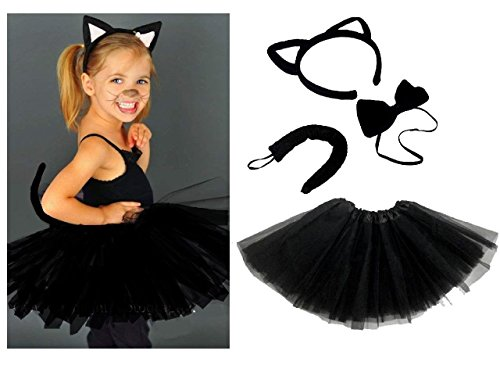 Lizzy Kids Angel Fairy Feather Wings Halo Fancy Dress Costume Cat Leopard Outfit Party Kids Witches Black Cat Costume(Ears Headband + Bow + Tail + Tutu)