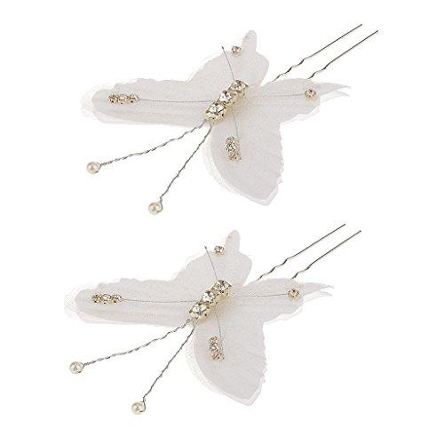 MagiDeal 2pcs Epingle à Cheveux de Mariée Coiffure Cristal Strass Papillon Accessoire de Cheveux pour Anniversaire Mariage