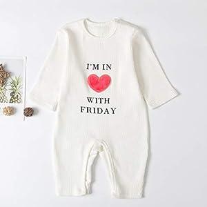 MYONA Bodies de Bebé Manga Larga, Mono de Recién Nacido Una Pieza Pijama con Estampado de Corazón Peleles de Algodón Infantil Ropa para Dormir Traje para Recién Nacido Otoño Invierno Unisex 0-24M 16