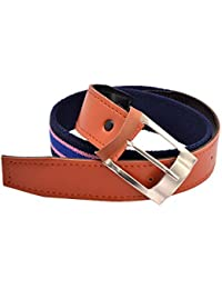 CrayonFlakes Children's Buckle Belt Blue Stretchable Canvas & Brown PU Leather