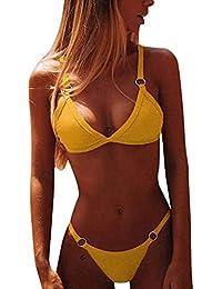CheChury Bikini Mujer Conjuntos Brasileño Sexy Tanga Mujer Playa Ropa de Baño Traje de Baño Sexy Bañador de Baño Tops y Braguitas 2 Piezas Verano