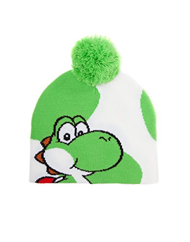 Super Mario Beanie Yoshi Kids With Pompom Green-53