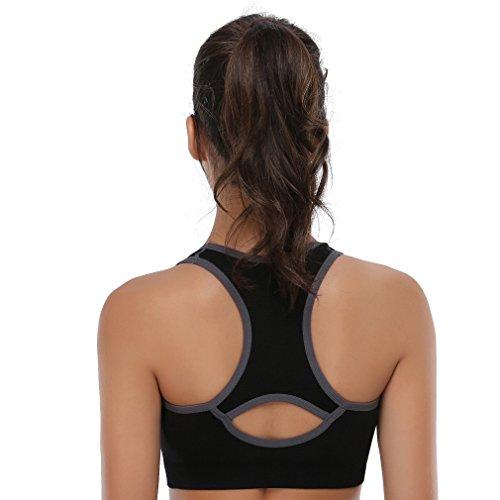 BAOMOSI - Reggiseno sportivo da allenamento e yoga, con dorso a vogatore, senza cuciture, sostegno elevato Black