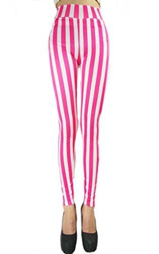 Ouye Damen Sexy Skinny Gestreift Elastische Leggings Weiß Rosa