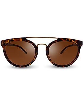 Overdose Sunglasses - Sophie Carey Gold Double Bridge, Gafas de Sol Unisex Doble Puente Polarizadas Protección...