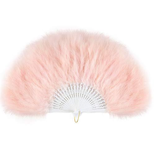 Baby Kostüm Pink Flapper - ArtiDeco Damen Fächer Marabou Feder 1920s Vintage Stil Retro Handfächer Damen Gatsby Kostüm Flapper Zubehör (Baby Pink)