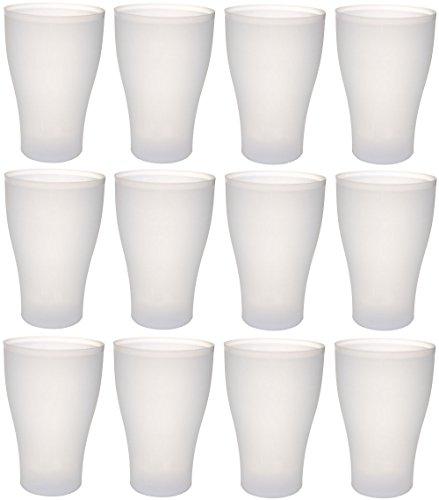 ststoff-Becher mehrweg 450 ml 12 Stück, farbig bunt mit Deckel oder transparent ohne Deckel, stapelbar auch als Wasser-Gläser, Cocktail-Gläser einsetzbar, Party-Becher, Plastik-Becher sind bruchsicher, unzerbrechlich, Farbe:12 St. / klar / o. Deckel (Kunststoff Bier Becher)