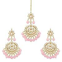 I Jewels Traditional Gold Plated Pearl & Kundan Maang Tikka With Earring Set (TE7058Pi)