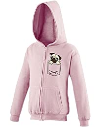 bd9e379e Youth Kids Childrens Zip Up Hoodie Dog Pug Pocket Print Puppy Cute Funny