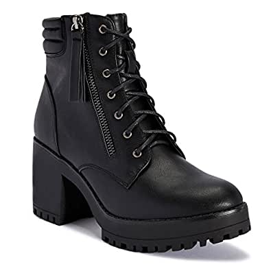 TRUFFLE COLLECTION Black Chunky Block Heel Chelsea Ankle Boots