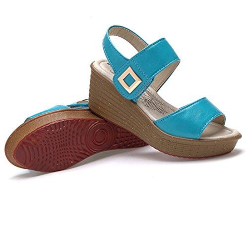 Moderne Sommer Damen Anti Rutsch Neue Einfache Elegante Bonbonfarbe Fischkopf Zehen Weiche Sohle Gummi Anti Rutsch Strandschuhe Sandalen Blau