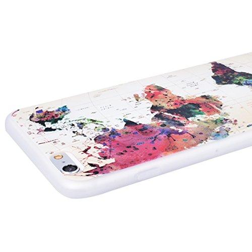 WE LOVE CASE iPhone 6 / 6s Hülle 3D Scheuern Entlastung Wolf iPhone 6 / 6s Hülle Silikon Weich Weiß Handyhülle Tasche für Mädchen Elegant Backcover , Soft TPU Flexibel Case Handycover Stoßfest Bumper  map