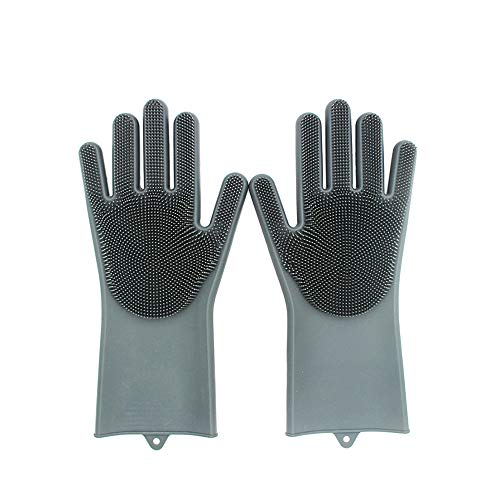 XINJIA Magic Silicone Dishwashing Gloves Dish Wash Scrubbing Schwammhandschuhe mit Borsten Küchenreinigungshandschuhe (Spule Elektro-herd, Ersatz)