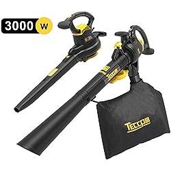 TECCPO Soffiatore/Aspiratore/Trituratore Funzione 3 in 1,3000W, Interruttore a Due velocità, Sacco di Raccolta 40L con Tracolla, 210-350km/h velocità - TABV01G