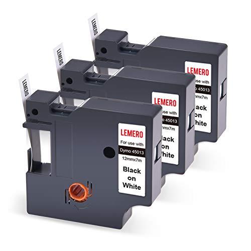 3 LEMERO Schriftband Etikettenband Kompatibel für Dymo 45013 Beschriftungsband Farbbband für Dymo LabelManager, 12mm x 7m,Schwarz auf Wei
