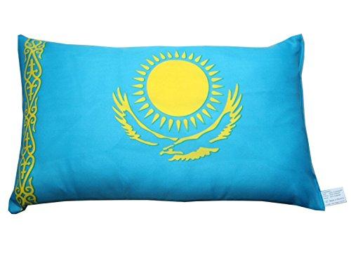 Kasachstan Kissen Fan Artikel Auto Deko Kasachstan beide Seiten bedruckt , ca. 28 x 40 cm. -