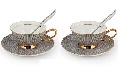 Set mit edlen Porzellan Kaffee-/Tee-Tassen mit Untertasse und Löffel, elegant Black,2 Pcs
