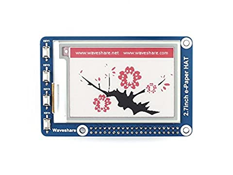 Waveshare 2.7 Inch E-Paper Display HAT(B) Module Kit 264x176 Resolution 3.3v E-ink Electronic Paper Screen with Embedded Controller Support Red Black and White Three-color Display Compatible with Raspberry Pi 2B 3B Zero Zero W?SPI Interface