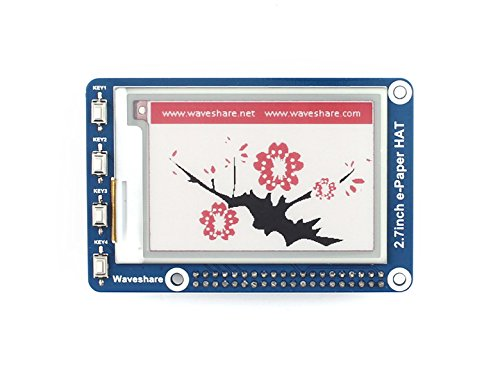 Waveshare 2.7Inch E-Paper Display Hat(B) Module Kit 264x176 Resolution 3.3vE-Ink Electronic Screen with Embedded Controller,Red Black White Threecolor for Raspberry Pi 2B 3B Zero Zero W,SPI Interface Screen Panel Kit