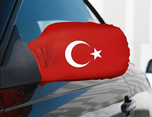 PartyMarty Lot de 2 drapeaux de voiture pour rétroviseur Turquie, parfait pour l'Euro 2016 de foot