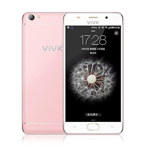 Smartphone 3g ohne Vertrag, ViVK F1 5,5'' Zoll Android 6.0 Handy simlockfrei (Dual-SIM, Quad-Core, HD IPS 1280 * 720 Touchscreen, 8GB ROM, 8MP/2MP Dual Kameras mit Dual Flash LED, OTG, Intelligente Geste, GPS, WiFi) Rosa