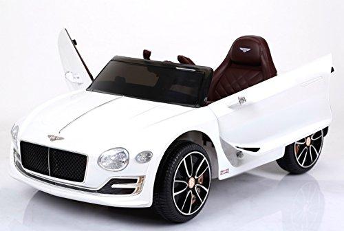 RIRICAR Bentley EXP12, Blanco, Licencia Original, Batería accionada, Puertas de la Abertura, Asiento de Cuero, Motor 2X, Batería DE 12 V, 2.4 GHz teledirigido, Ruedas Suaves de EVA, Arranque Suave