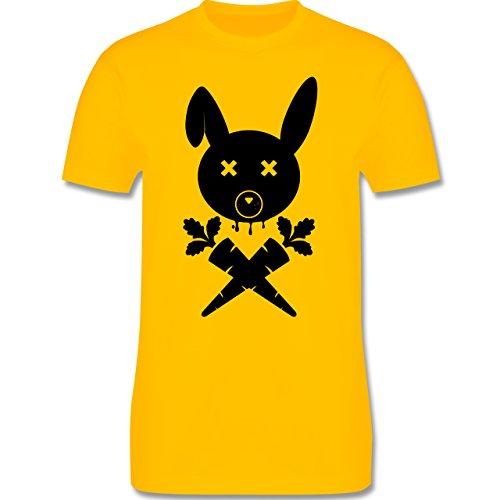 Sonstige Tiere - Hase Skull - Herren Premium T-Shirt Gelb