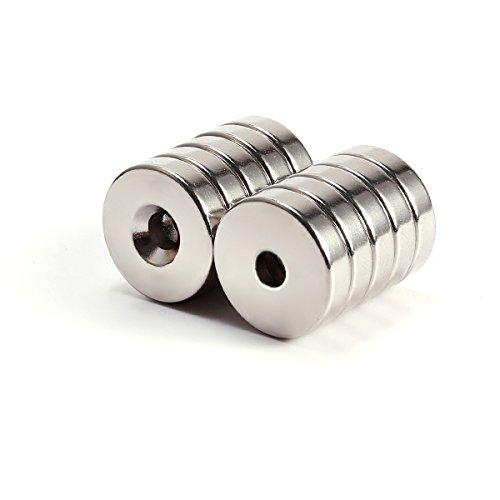 10er Extrem Starke N50 Neodym Runde Scheibe Magnete mit Loch 20*5mm Pinnwand Kühlschrank Büro