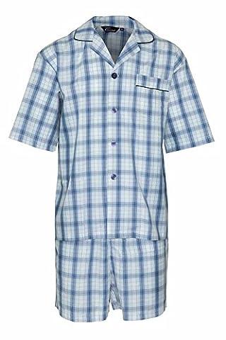 Champion Short pour homme en polycoton Luxe lounge Pyjama Selebritee tenue longue tenue - Bleu - Large
