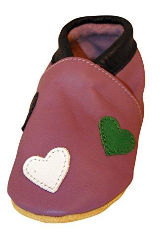 Chaussures artisanales Three Little Imps en cuir souple pour bambins - Jolis coeurs sur fond lilas 6 - 12m (MHLI) violet