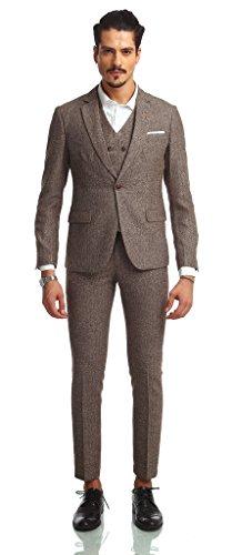 Pizoff Herren hippie faschion luxus Anzug Slim Fit 3 Teilig Superenger Blazer Sakko Anzughose Business Smoking karomuster AB002-08-S