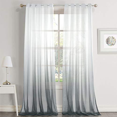 Dreaming Casa Farbverlauf Vorhang Grau Voile Gardinen Transparent mit Ösen Ösenschal Dekoschal Fensterschal für Wohnzimmer Schlafzimmer 140cm x 240cm (B x H) 2er Set