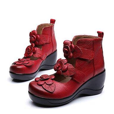 Zormey Frauen Heels Komfort Pu-Rindleder Nappa Leder Feder Casual Rot Gelb Schwarz US8.5 / EU39 / UK6.5 / CN40