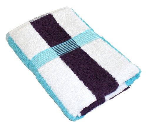 Gözze Duschtuch, 100% Baumwolle, 70 x 140 cm, New York, Streifen, Türkis/Weiß/Dunkellila, 555-8300-5