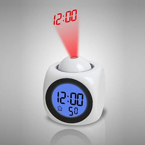 HSXOT Posponer A Los Niños Reloj Despertador Proyector Reloj Digital Luces De Reactivación con Informe...