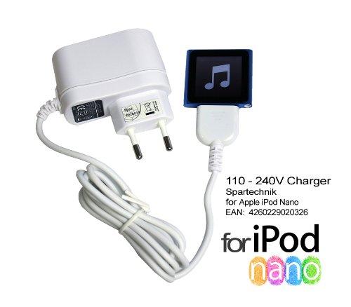 Spartechnik 230V Netzteil für Apple iPod nano 1G 2G 3G 4G 5G 6G Video Multitouch 1 2 3 4 5 6 Generation, Ladegerät 110-240 - weiss 4g Ipod Nano