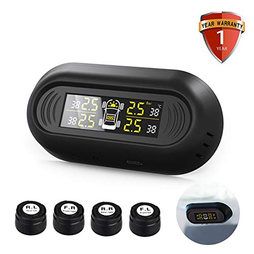 Favoto tpms sistema wireless di controllo della pressione pneumatici per auto 1,5bar - 7,0bar con monitor led e 4 sensori pressione pneumatici, supporta carica elettrica