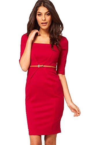 YALI Mode-Stil Quadrat Kragen Bleistiftrock,Rot,M (Kragen-einzel Manschette-shirt)