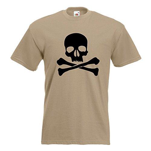 KIWISTAR - Totenkopf - Todessymbol - Piratenzeichen T-Shirt in 15 verschiedenen Farben - Herren Funshirt bedruckt Design Sprüche Spruch Motive Oberteil Baumwolle Print Größe S M L XL XXL Khaki