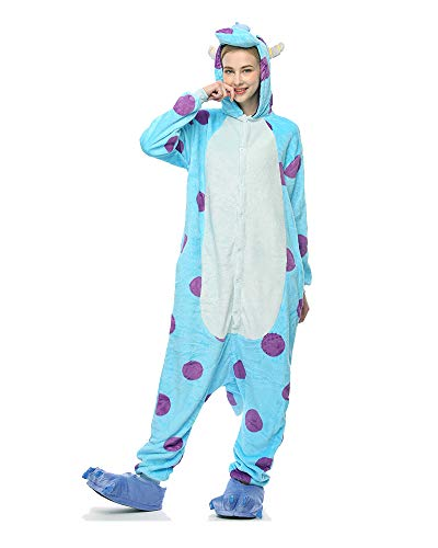 Molly Kigurumi Pijamas Traje Disfraz Animal Adulto Animal Pyjamas Cosplay Homewear L Azul Blanco