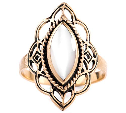 WINDALF Mittelalter Ring LÚNA h: 2.2 cm Elfenstern Perlmutt edle Bronze (Bronze, 50 (15.9)) - Bronze Ring