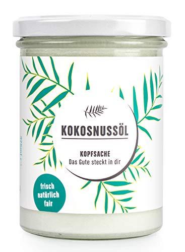 KOPFSACHE Kokosnussöl | 400 ml | Premium Bio-Kokosöl | Fair-Trade-Kokosfett | nativ aus der frischen Kokosmilch zentrifugiert | Zum Braten & Backen | Naturkosmetik | Für Haut