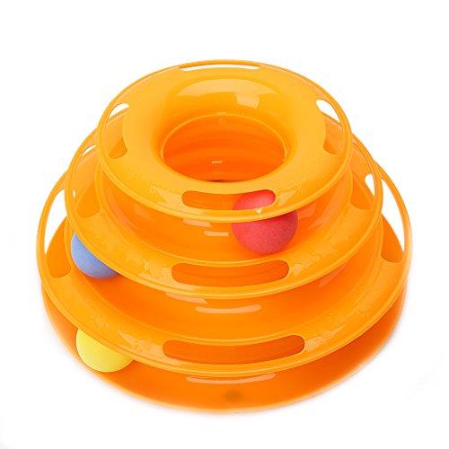 8af8992708c9 ZOOMY Pet Cat Bell Ball Trilaminar Fun Turntable Toy Fun Crazy Interactive Fun  Toys - Amarillo