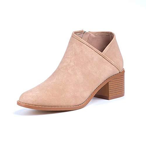 Hafiot Chelsea Boots Stiefeletten Damen Kurzschaft Leder mit Absatz Kurze Reissverschluss Bequem Stiefel Winter 5cm Schuhe Schwarz Blau Braun Khaki 35-43 EU Khaki 40