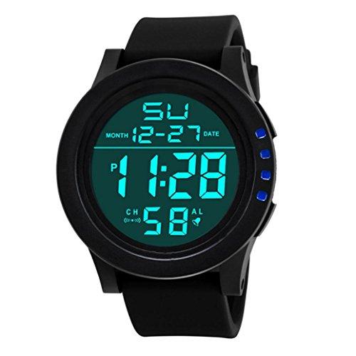 Armbanduhr,Binggong 2018 LED-wasserdichte Digital Quarz Mode Uhr Militärsport Männer Sport Wasserdicht Datum Kalender Digital Armbanduhr für Herren Sports Armband (55MM, Blau)